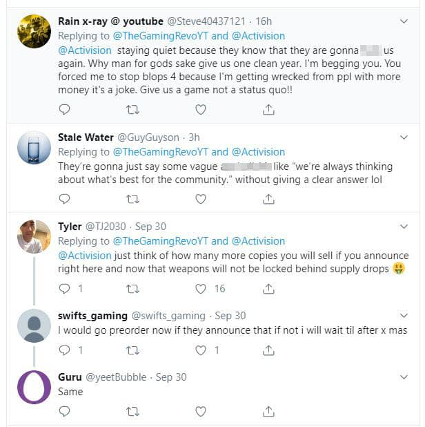 Twitter response to Activision