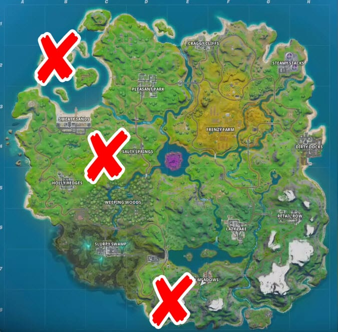 Where are the Boat Launch, Coral Cove, And The Flopper Pond in Fortnite