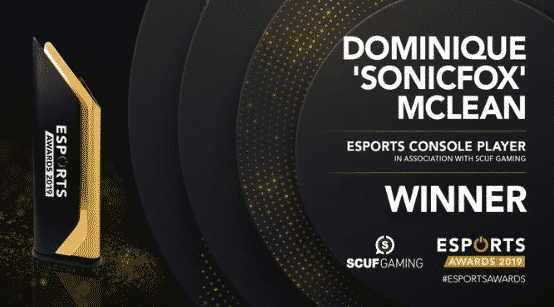 Esports Console Player of the year Dominique Sonicfox Mclean 2019 Awards