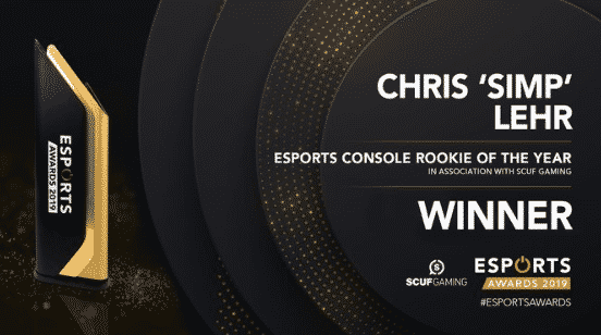 Esports Console Rookie of the year Chris SIMP Lehr 2019 Awards