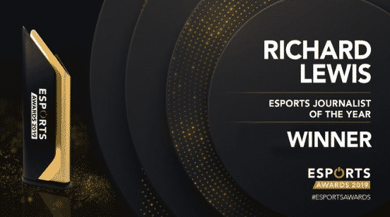 Esports Journalist of the year Richard Lewis 2019 Awards