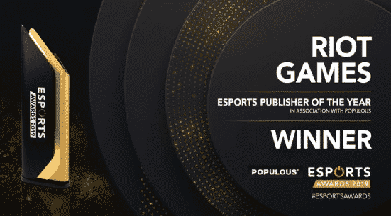 Esports Publisher of the year Riot Games 2019 Awards