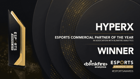 Esports commercial partner of the year Hyperx 2019 Awards