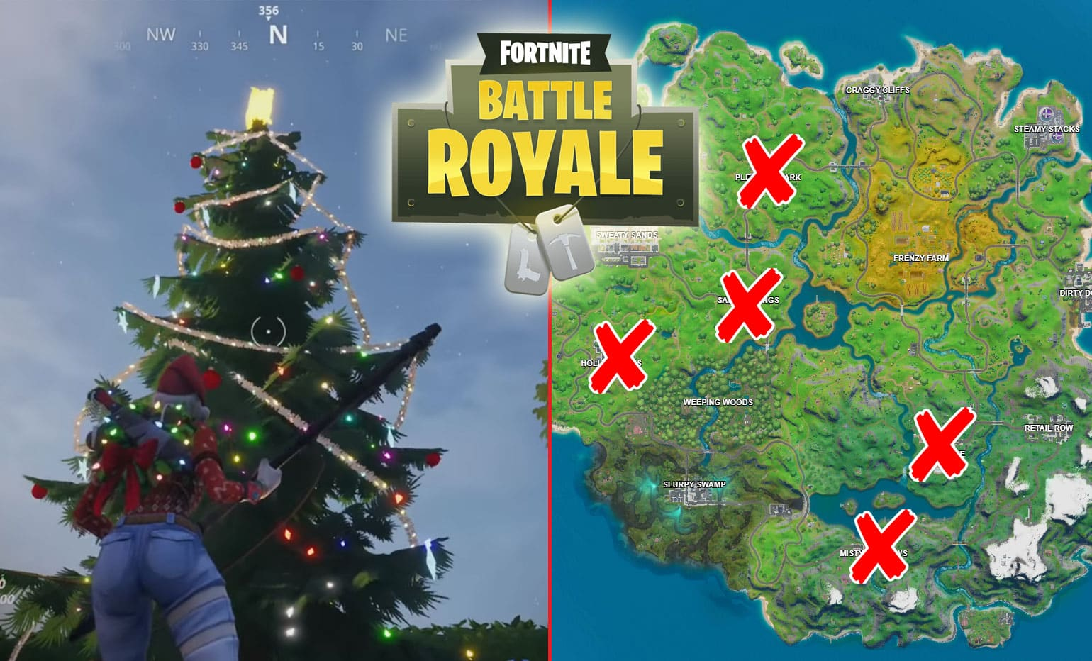 Dance At Fortnite Holiday Trees in Different Named Locations