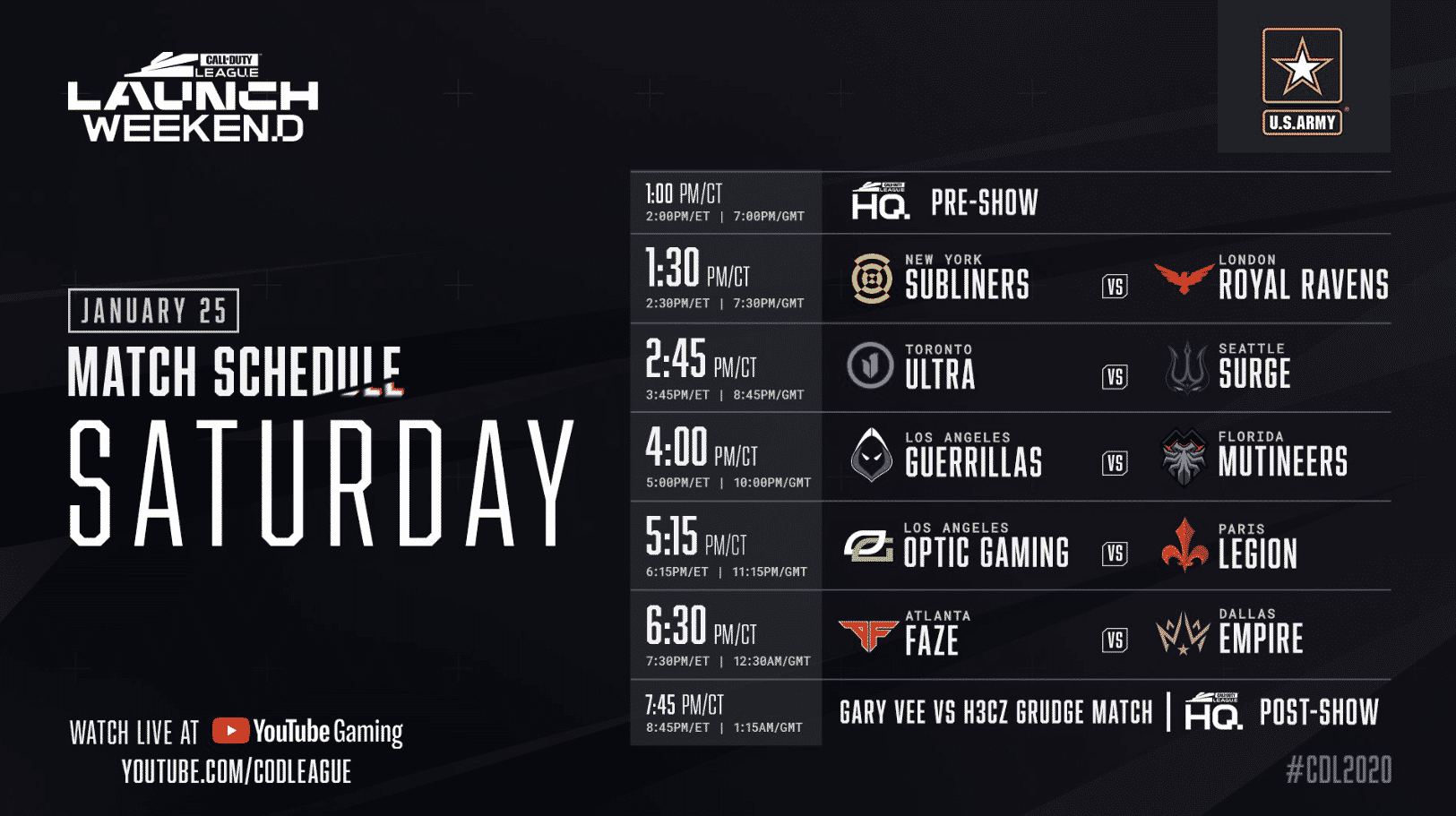 Call of Duty League Match Schedule Saturday Launch Weekend