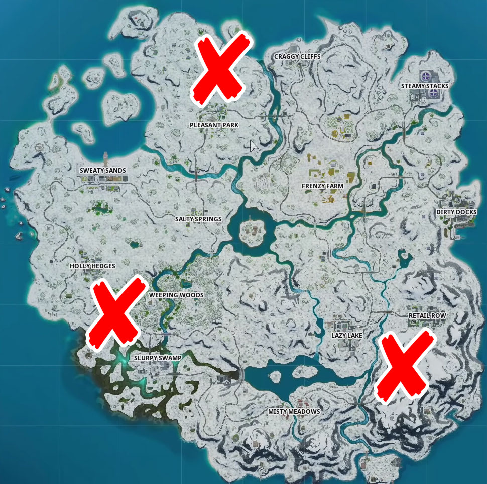 where are the Workshop, Shiver Inn, Ice Throne in Fortnite