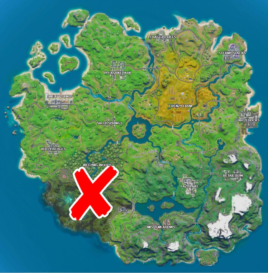 where are the no fihsing signs in Fortnite