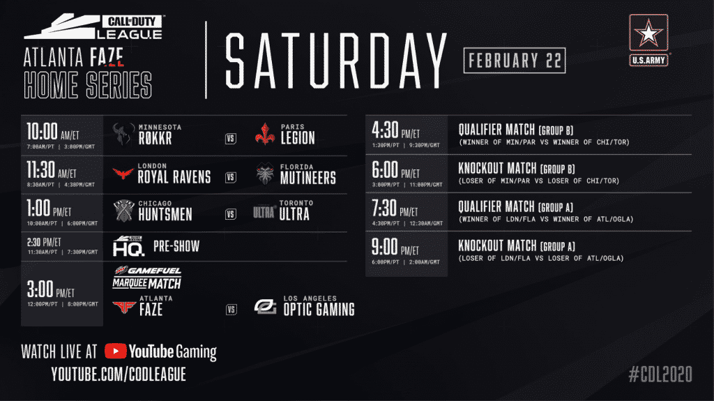 Call of Duty Atlanta FaZe Home Series Saturday Schedule