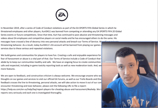 FIFA Pro Player 'Kurt0411' Banned From FIFA by ElectronicArts