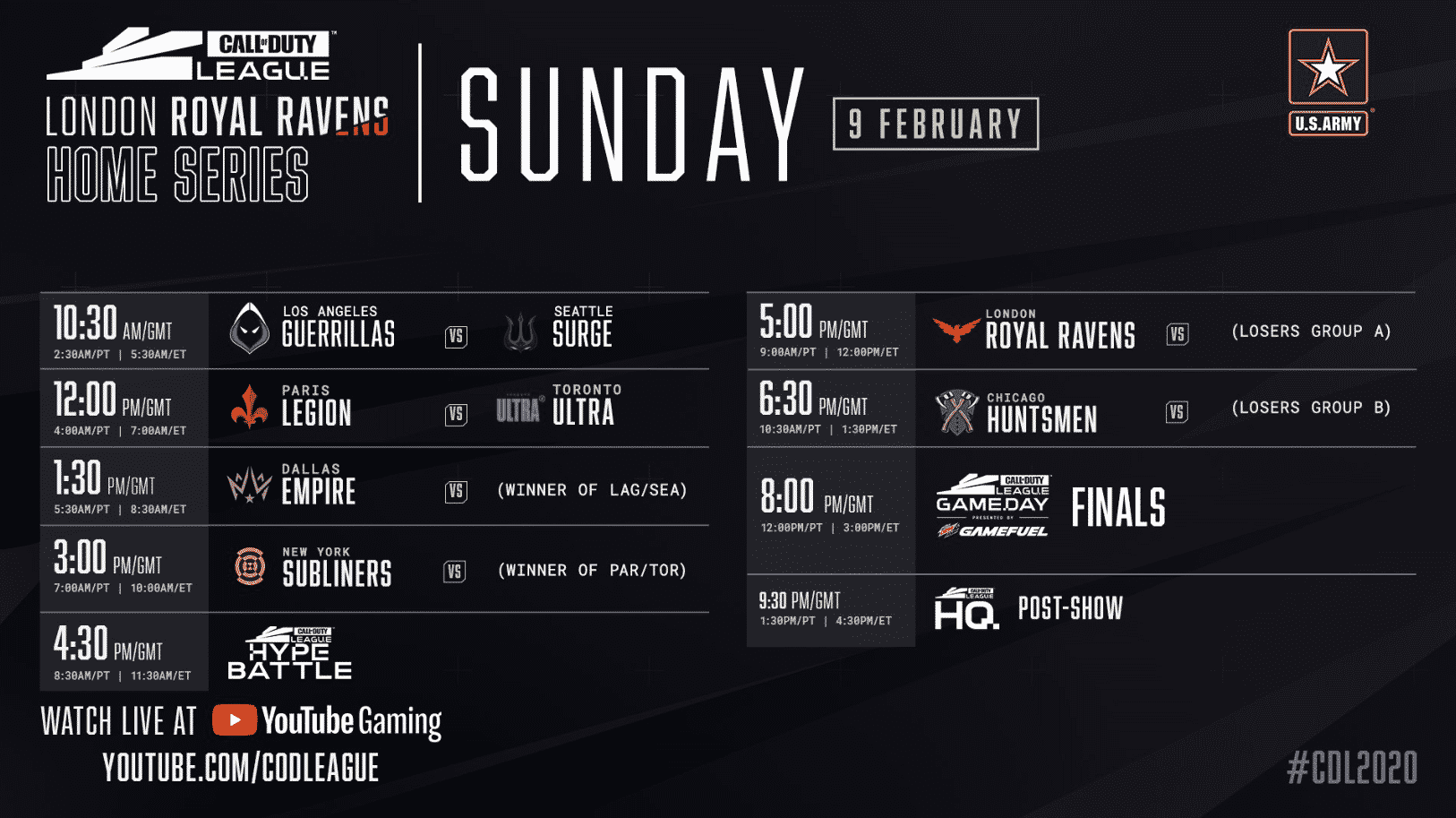 London Home Series Sunday Schedule Feb 9