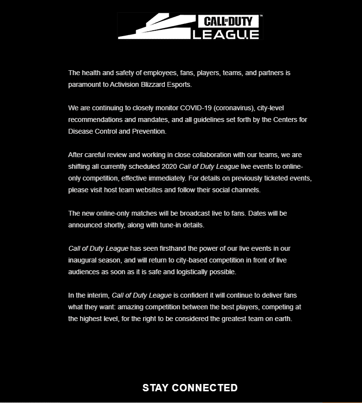 Call of Duty League Coronavirus Update Esports