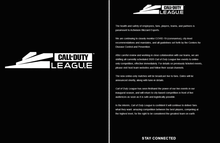 Call of Duty League Live Events Online-Only Competition Coronavirus