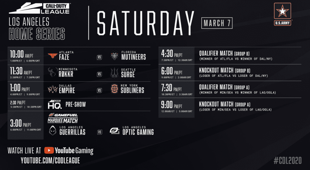 Call of Duty Los Angeles Home Series Saturday Schedule 2020