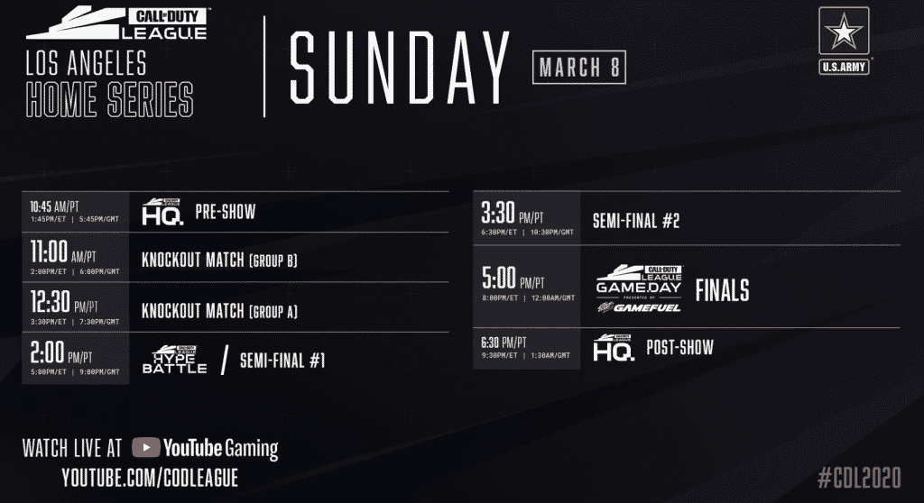 Call of Duty Los Angeles Home Series Sunday Schedule 2020