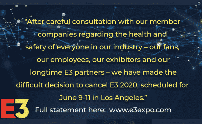 E3 Cancelled Due to Corona Virus