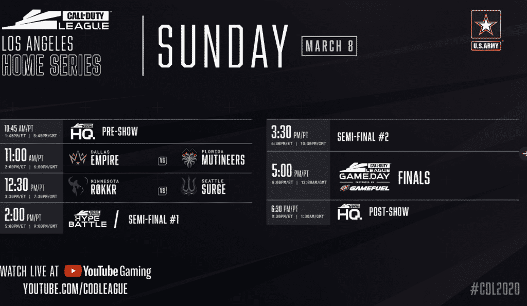 Los Angeles Home Series 2020 Sunday Schedule