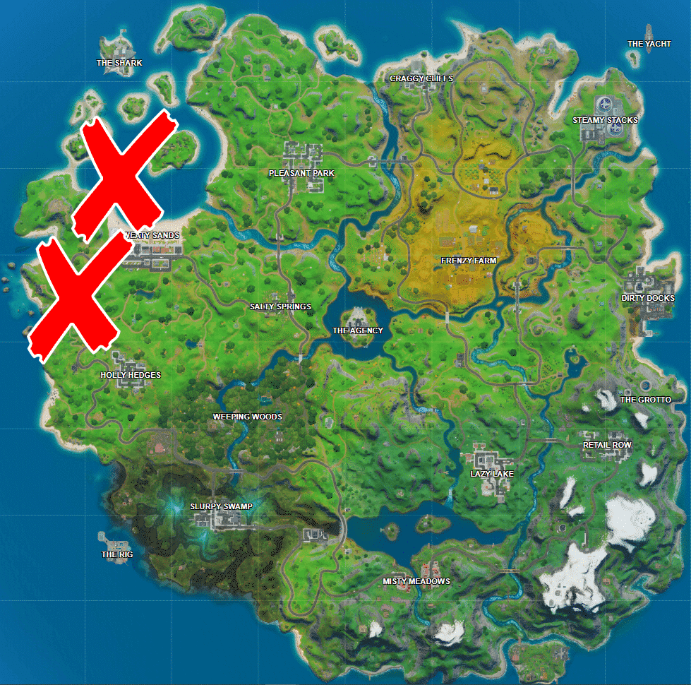Where is Coral Cove, Stack Shack and Crash Site in Fortnite