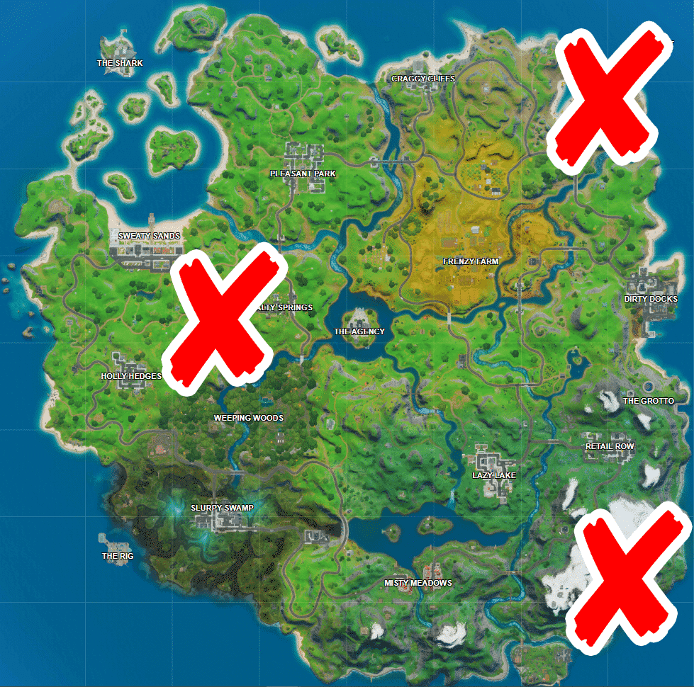 Where is Shipwreck Cove, Yacht, and Flopper Pond in Fortnite
