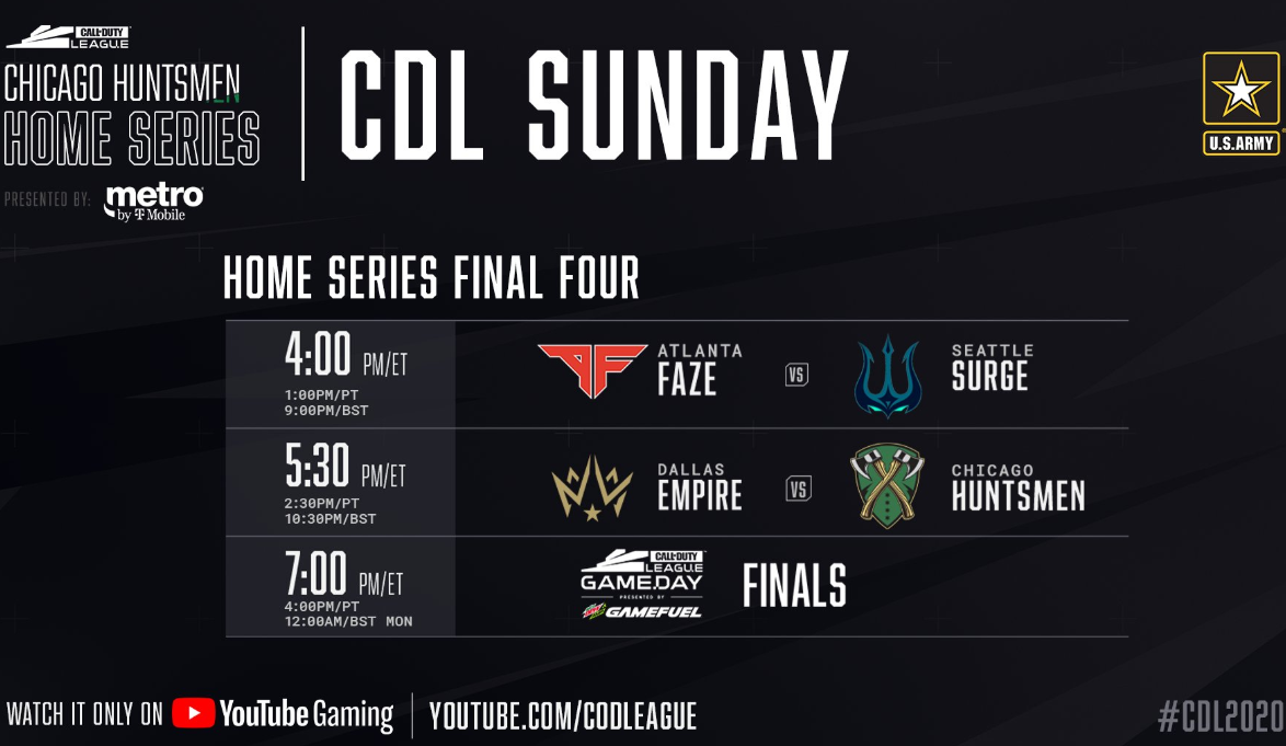 CDL Chicago Huntsmen CDL Sunday Matches