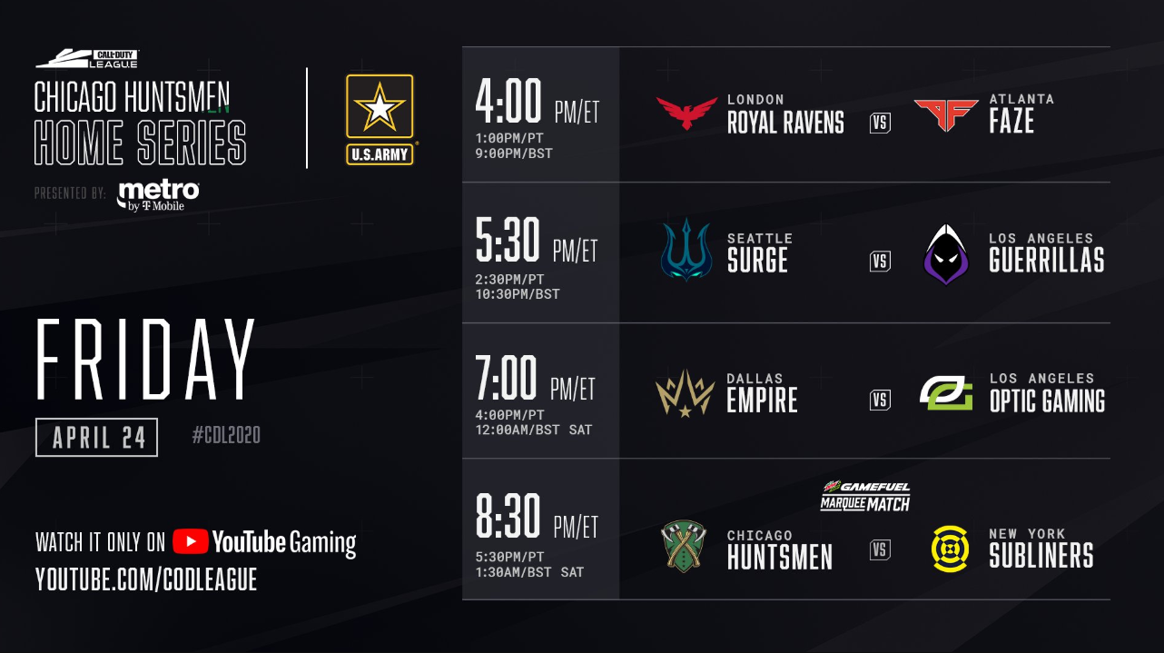 Call of Duty Chicago Huntsmen Home Series Friday Schedule 2020
