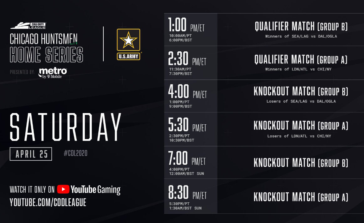 Call of Duty Chicago Huntsmen Home Series Saturday Schedule 2020