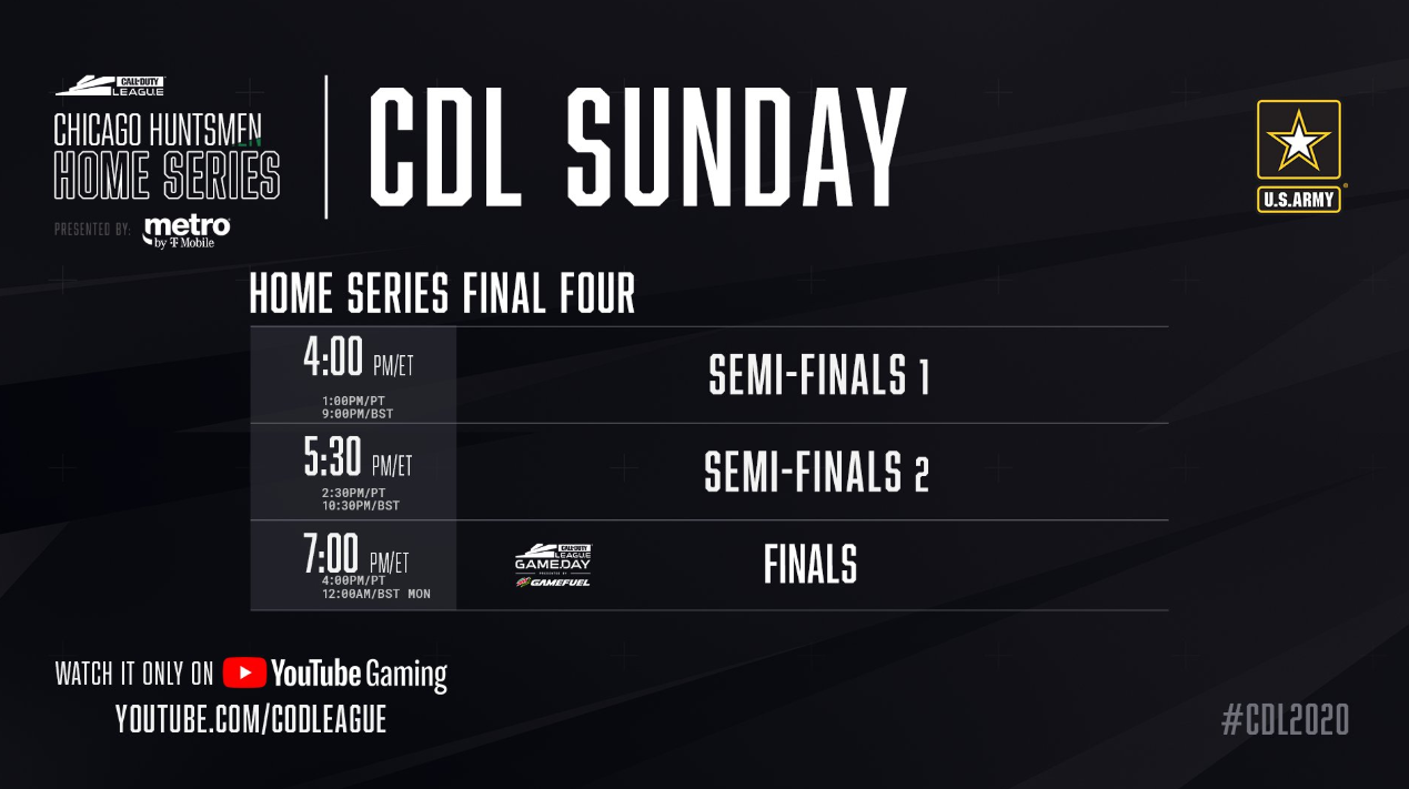 Call of Duty Chicago Huntsmen Home Series Sunday Schedule 2020