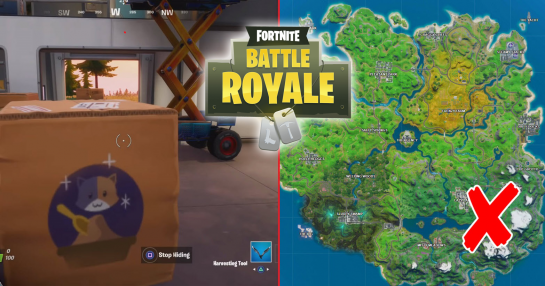 Hide in a Fortnite Creepin Cardboard Box Factory Location