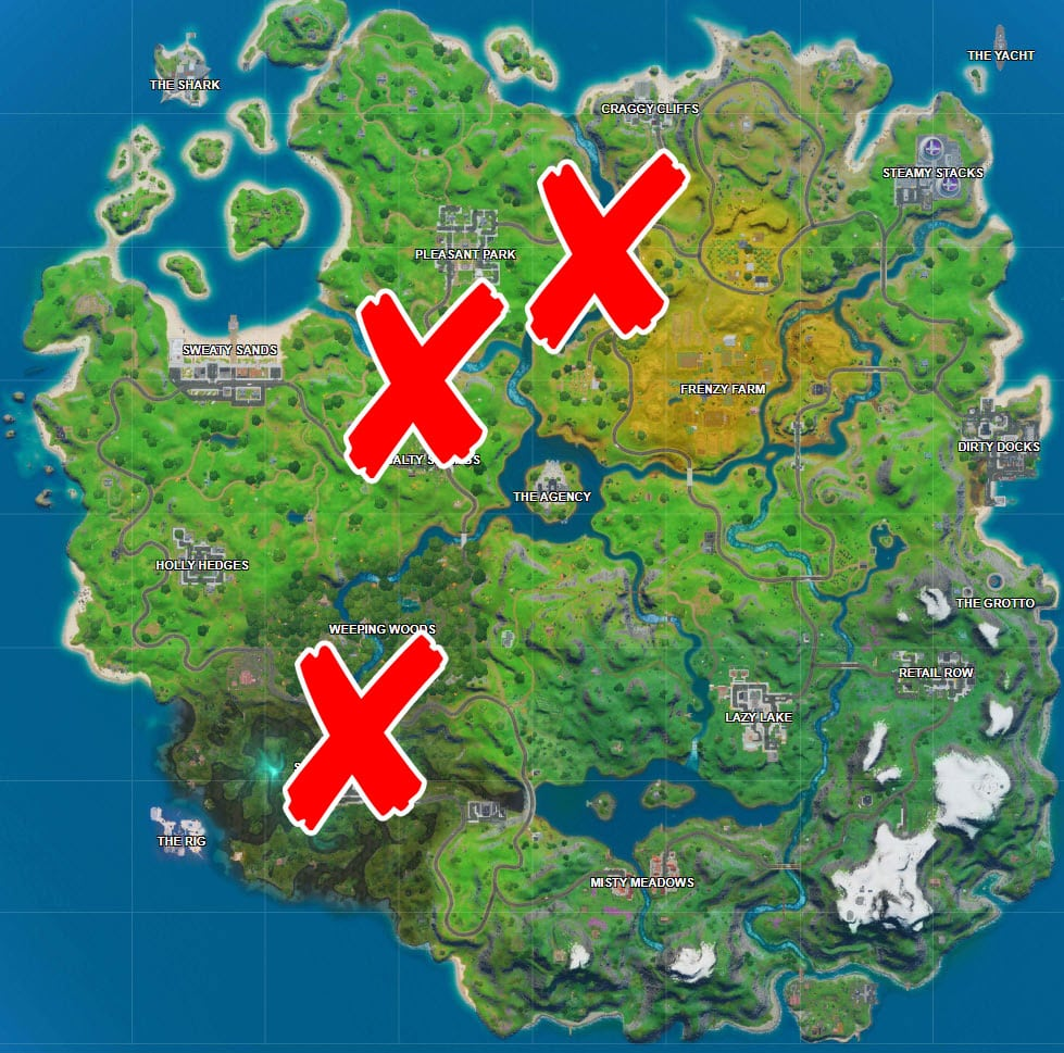Where is the Purple, Red and Blue Bridges in Fortnite