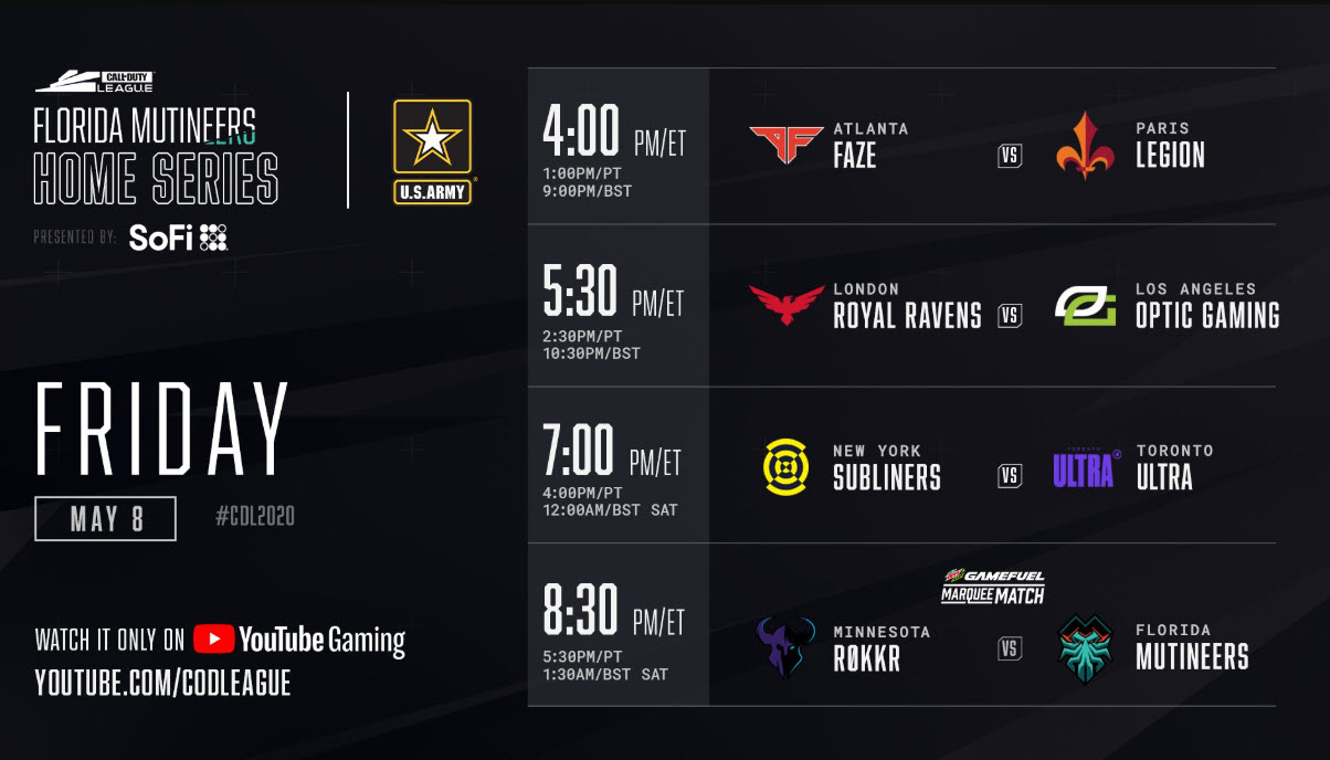 Call of Duty Florida Mutineers Home Series Friday Schedule 2020