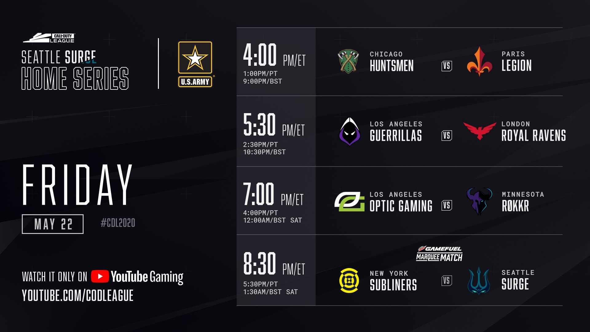 Call of Duty Seattle Surge Home Series Friday Schedule 2020