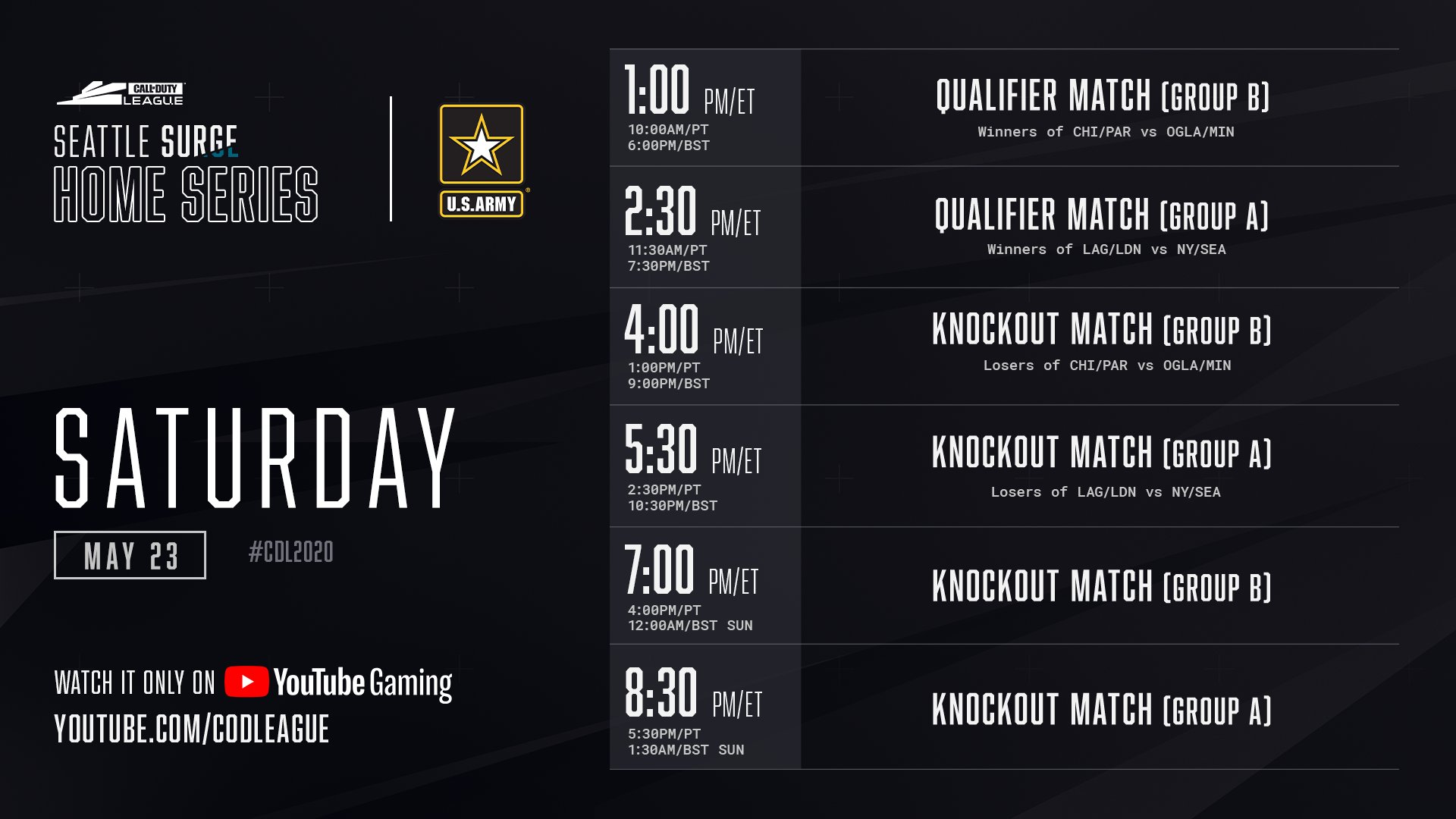 Call of Duty Seattle Surge Home Series Saturday Schedule 2020