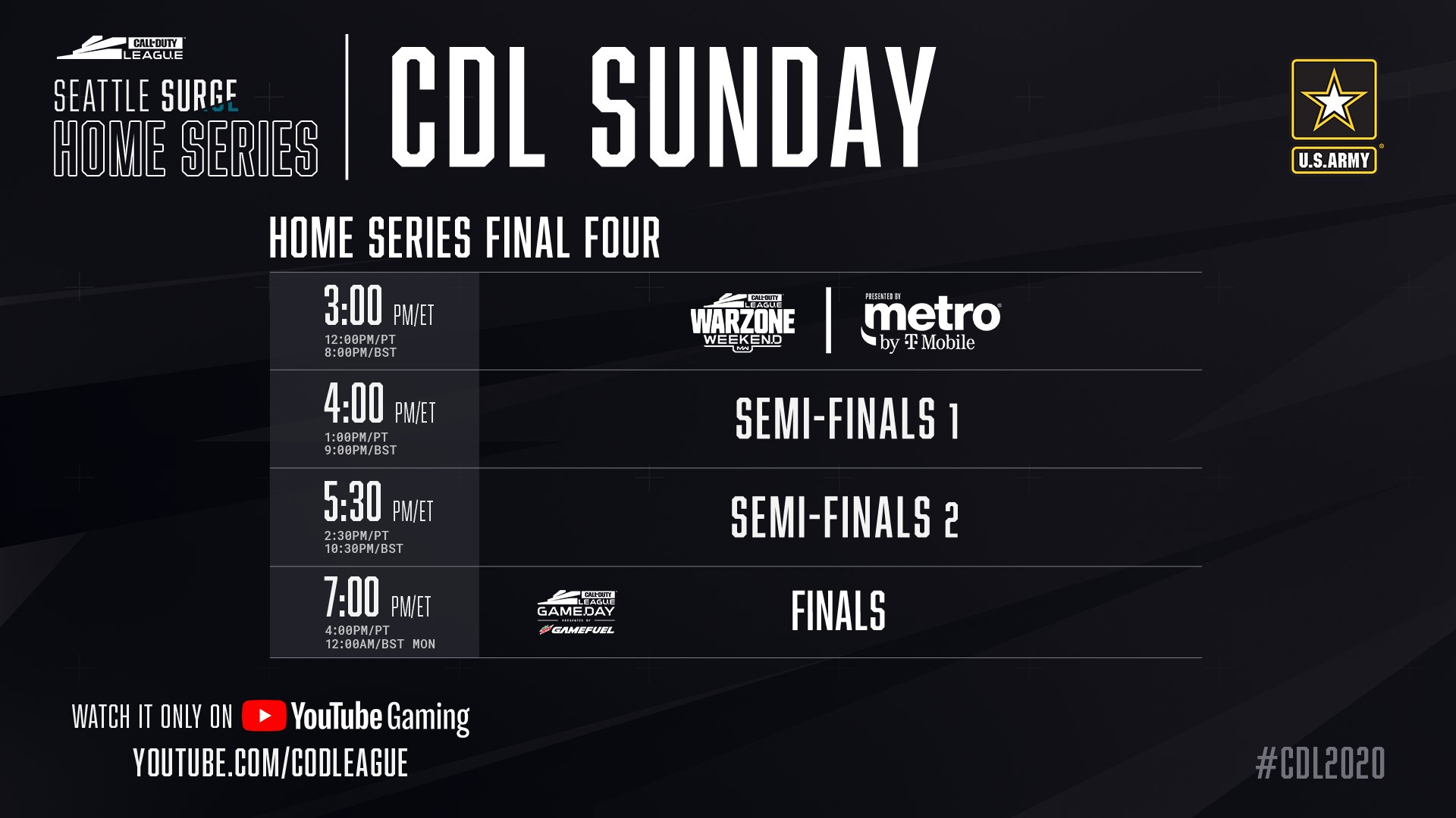 Call of Duty Seattle Surge Home Series Sunday Schedule 2020