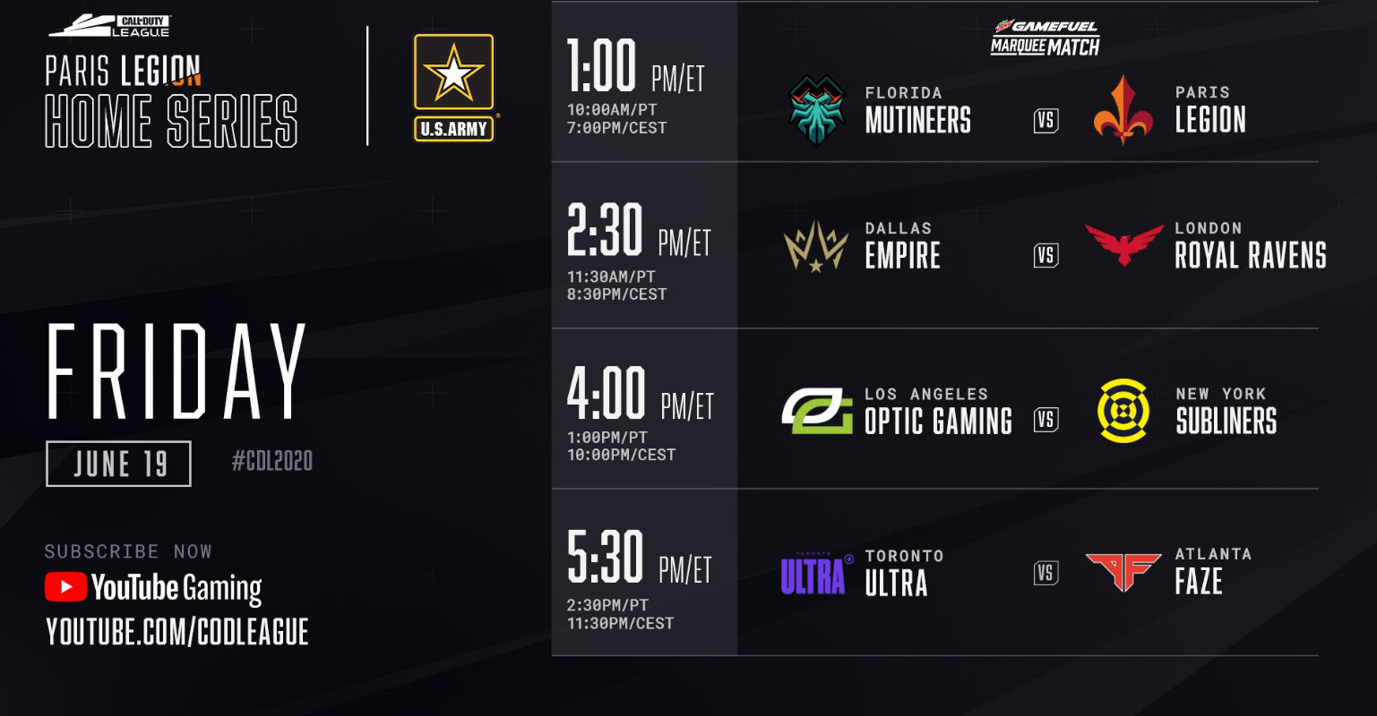 Call of Duty Paris Legion Home Series Friday Schedule 2020