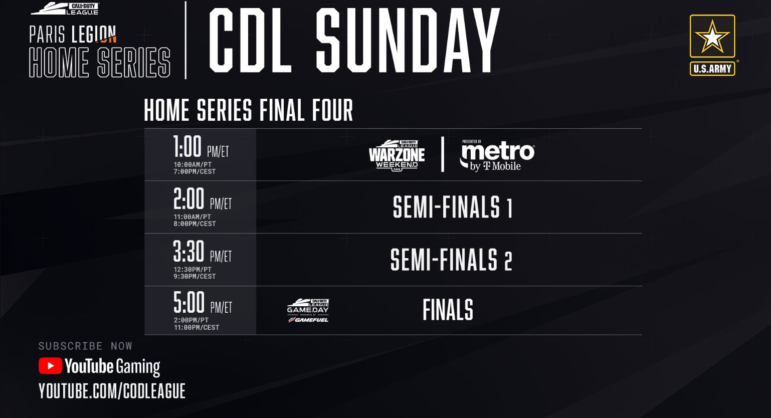 Call of Duty Paris Legion Home Series Sunday Schedule 2020