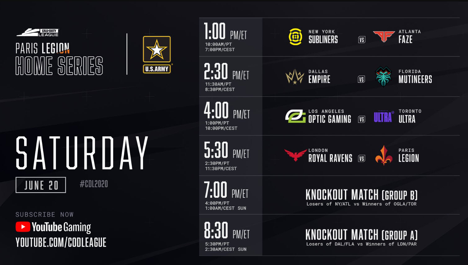 Schedule for Day 2 CDL Paris Legion Home Series